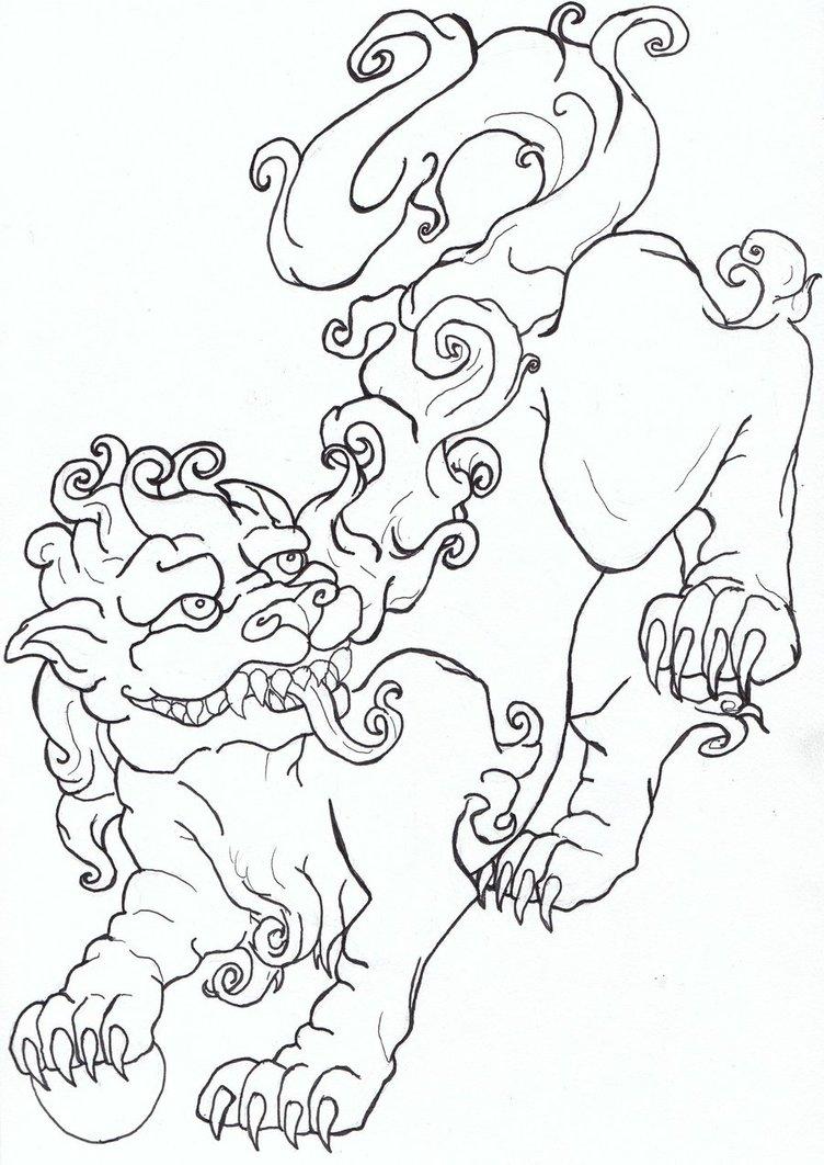 752x1062 Foo Dog Flash Art By Caylyngasm