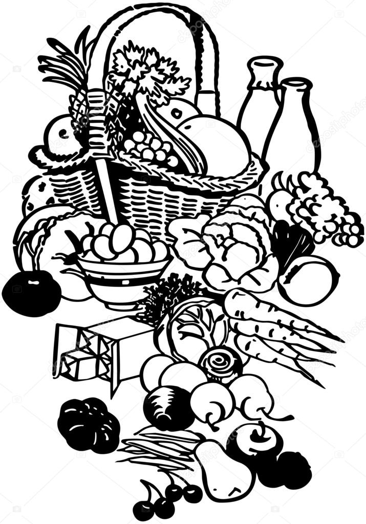 715x1024 Food Basket Stock Vector Retroclipart