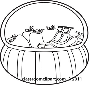 375x359 Food Clipart Culinary Fruit Basket Outline