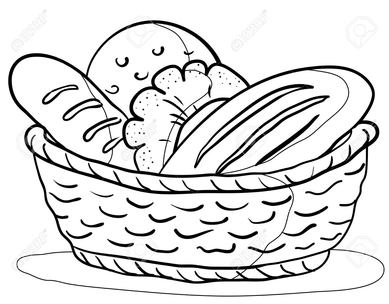 1300x1016 Food Tasty Fresh Bread, Loafs And Rolls In A Basket, Contour