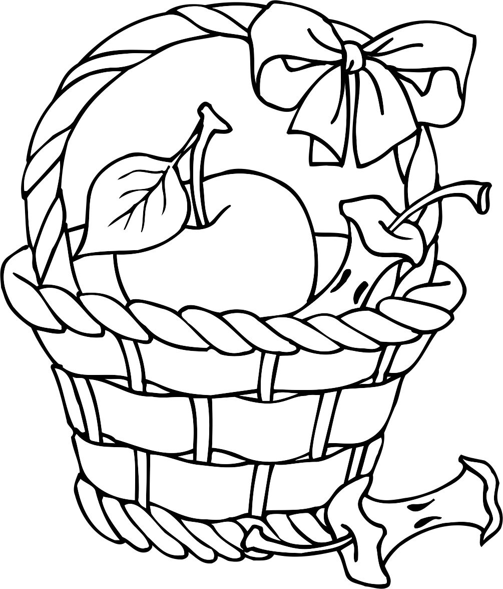 1005x1175 Apple Basket Coloring Page Fall Leaves Coloring Pages