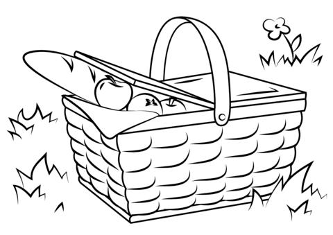 480x339 Picnic Basket Food Ausmalbild Ausmalbilder Lebensmittel Pinterest