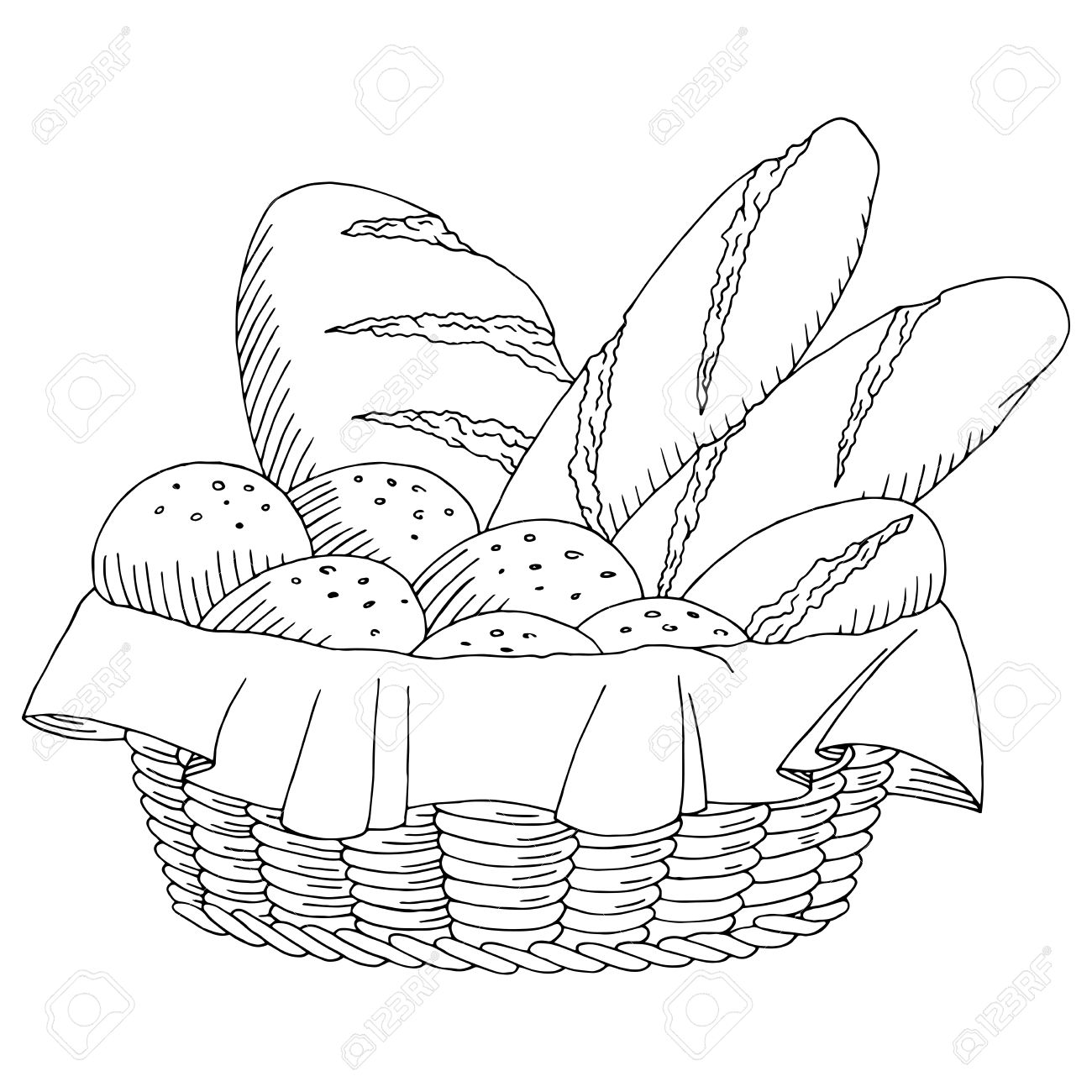 1300x1300 Bread Basket Food Graphic Art Black White Isolated Sketch