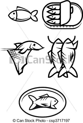 319x470 Fish Food Symbols. Set Of Seafood And Fish Symbols Isolated