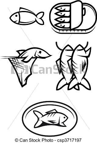 319x470 Fish food symbols. Set of seafood and fish symbols isolated