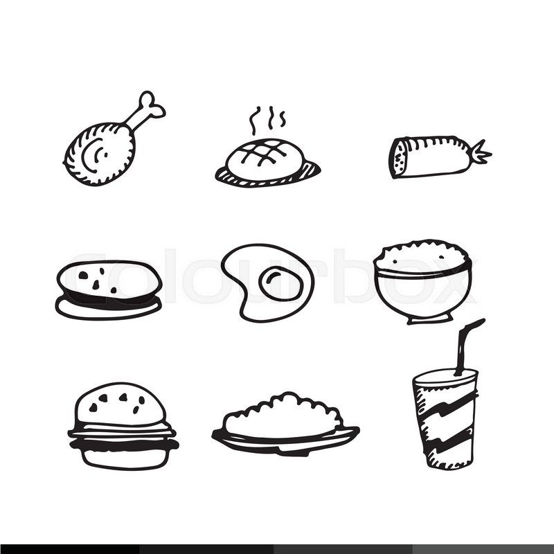 800x800 Food Draw icon illustration design Stock Vector Colourbox