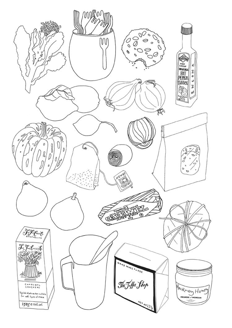 750x1061 Food Drawings For Melrose And Morgan By Nina Chakrabarti Food