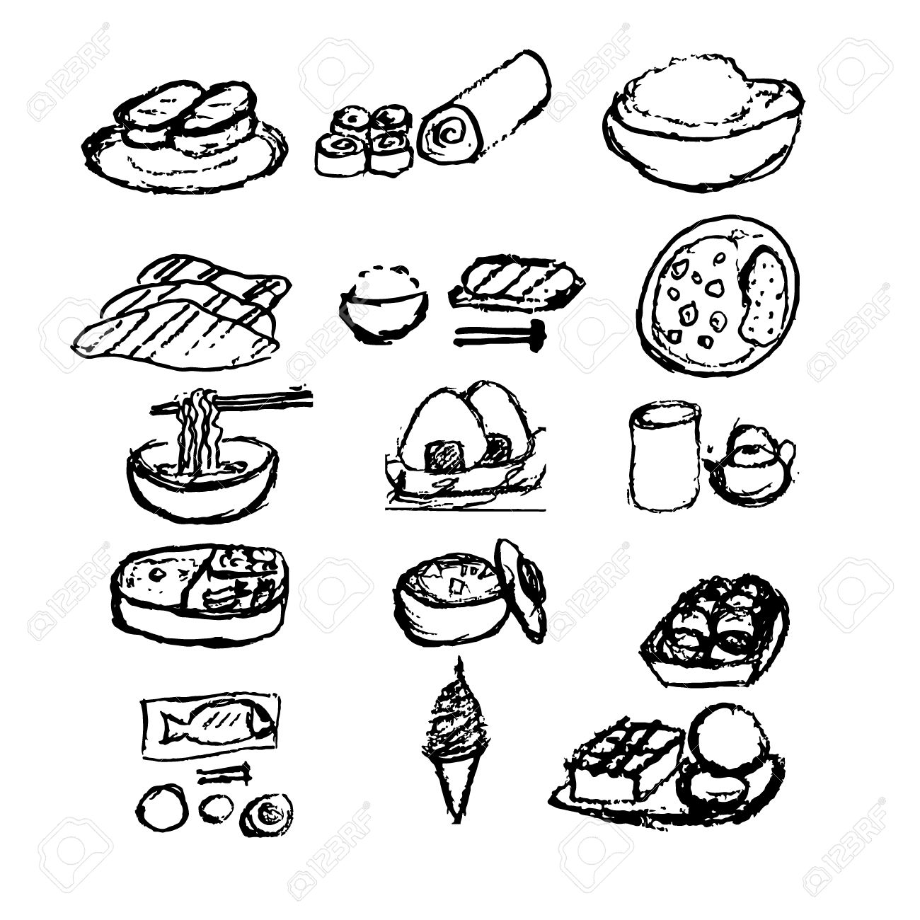 1300x1300 Japanese Food Doodle Hand Draw Style Set 12 Item Royalty Free