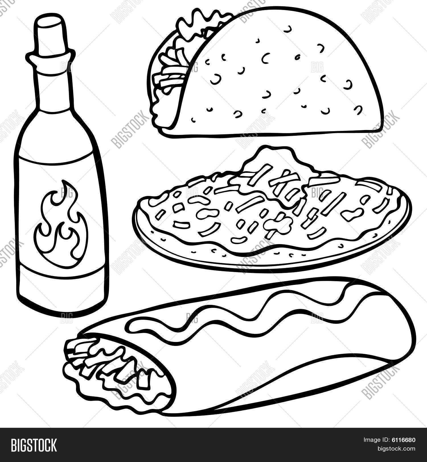 1500x1620 Mexican Food Items Line Art Vector Amp Photo Bigstock