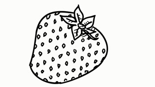 320x180 Strawberry fruit food line drawing illustration animation
