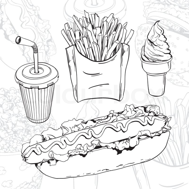 800x800 Vector Hand Drawn Fast Food Set On Abstract Background Stock