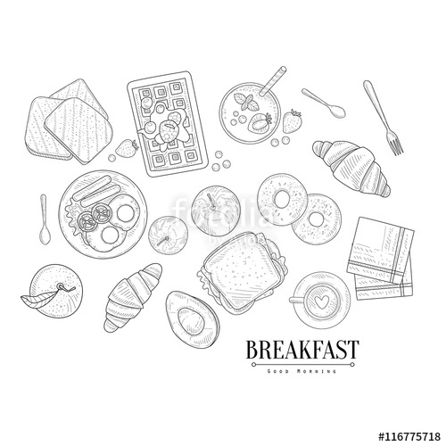 500x500 Breakfast Food Isolated Drawings Set Hand Drawn Realistic Sketch