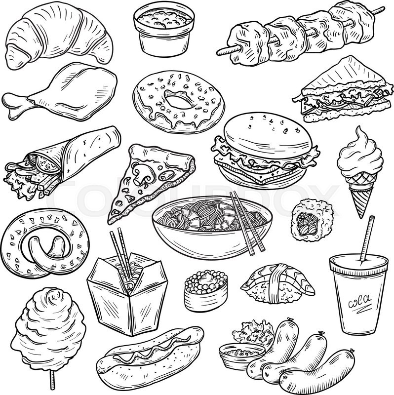 798x800 Collection of fast food sketches Stock Vector Colourbox