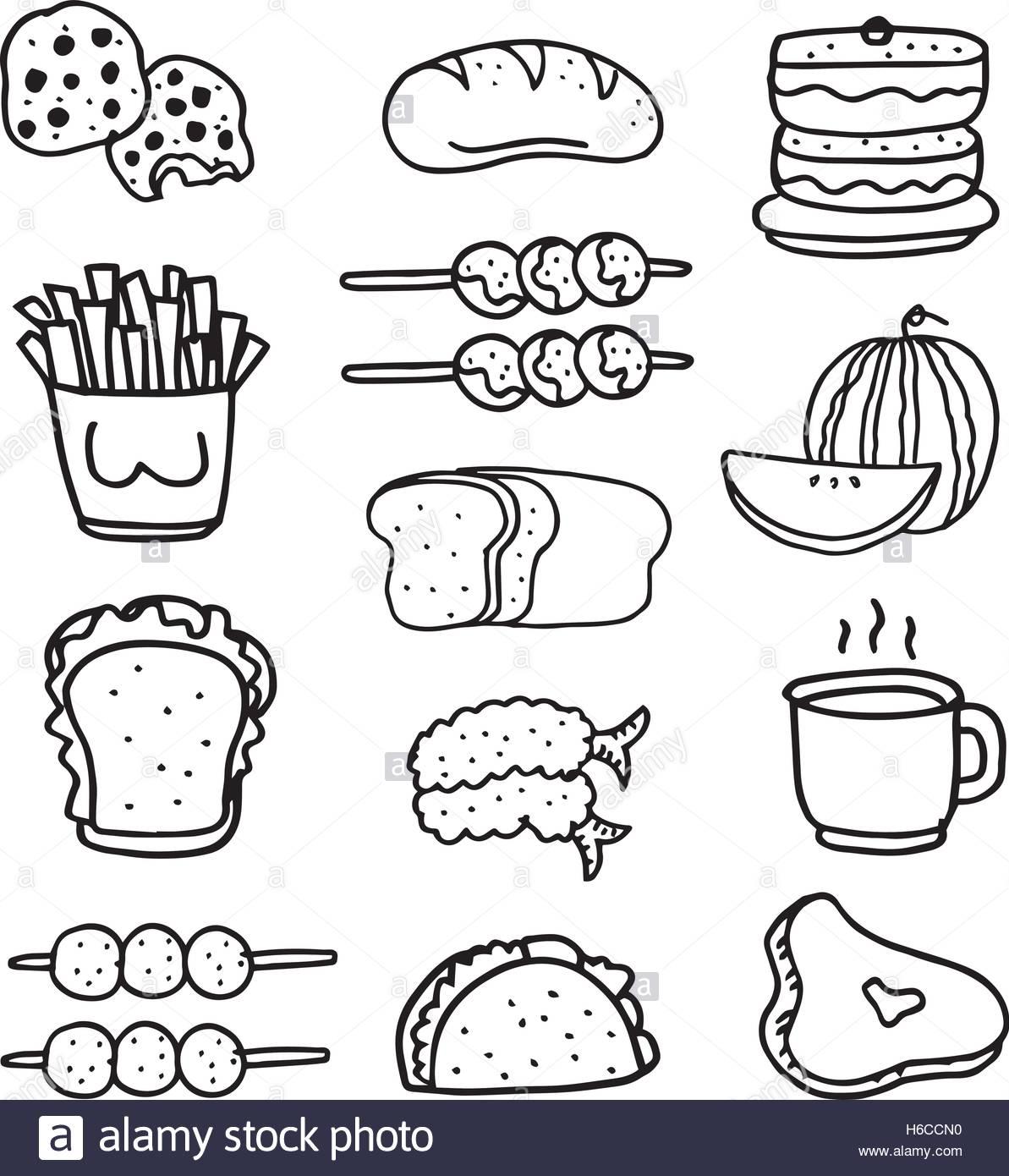 1193x1390 Doodle Of Food Set Hand Draw Vector Art Stock Vector Art