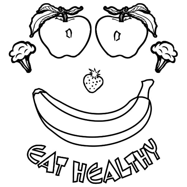 600x600 Healthy Food Coloring Pages Printable Good Healthy Food Coloring
