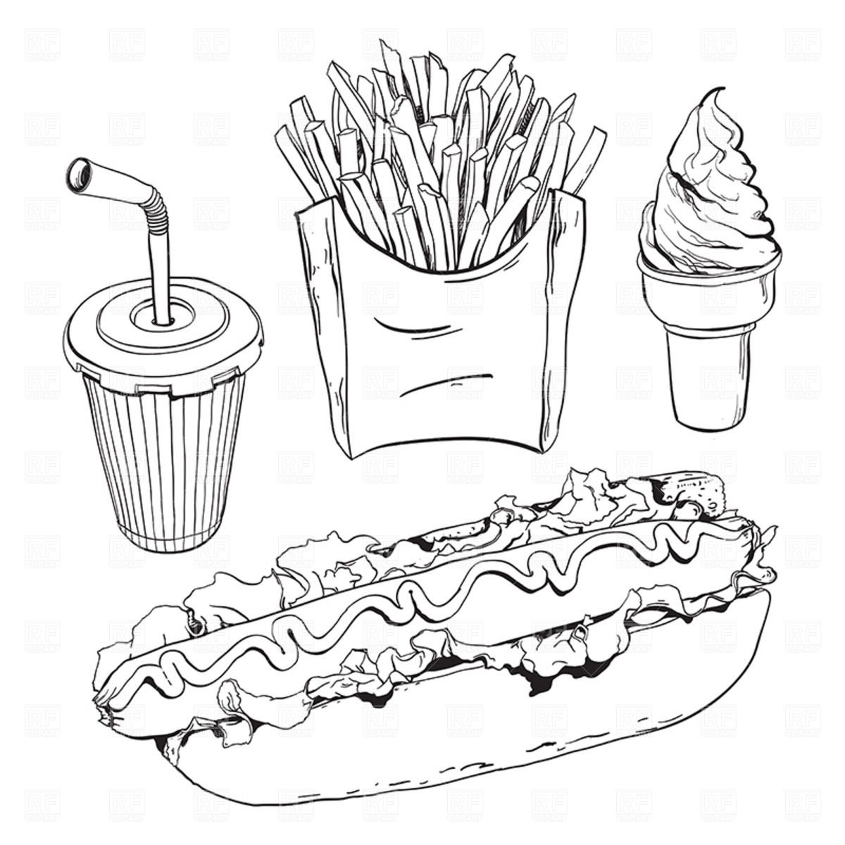 1200x1200 Fast Food Set Isolated On White Royalty Free Vector Clip Art Image