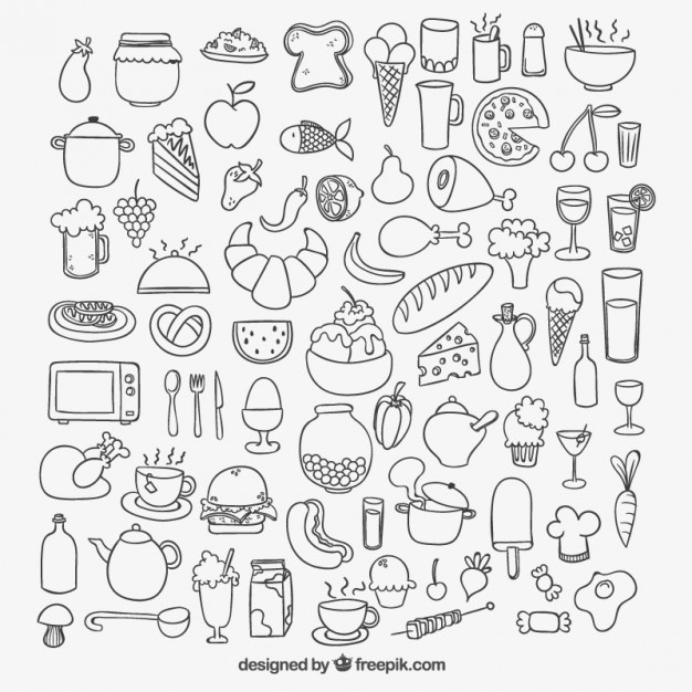 626x626 Icons of sketchy food Vector Free Download