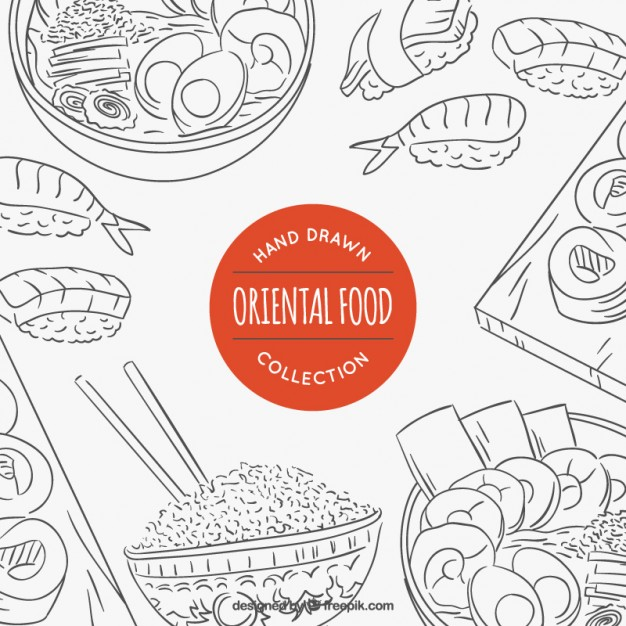 626x626 Sketches variety of oriental food Vector Free Download