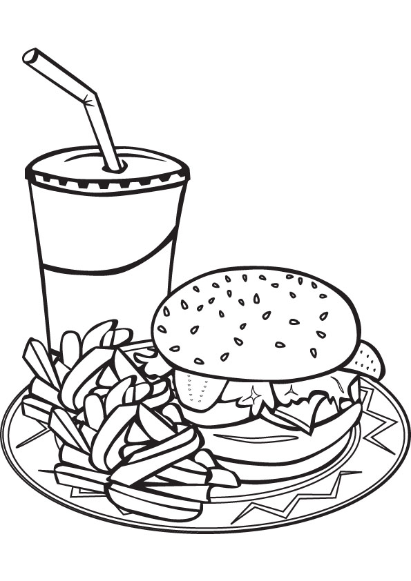 595x842 Download Free Fast Food Coloring Book
