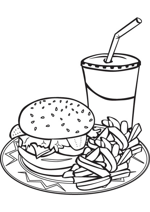 600x849 Drawing Junk Food Trio Coloring Page