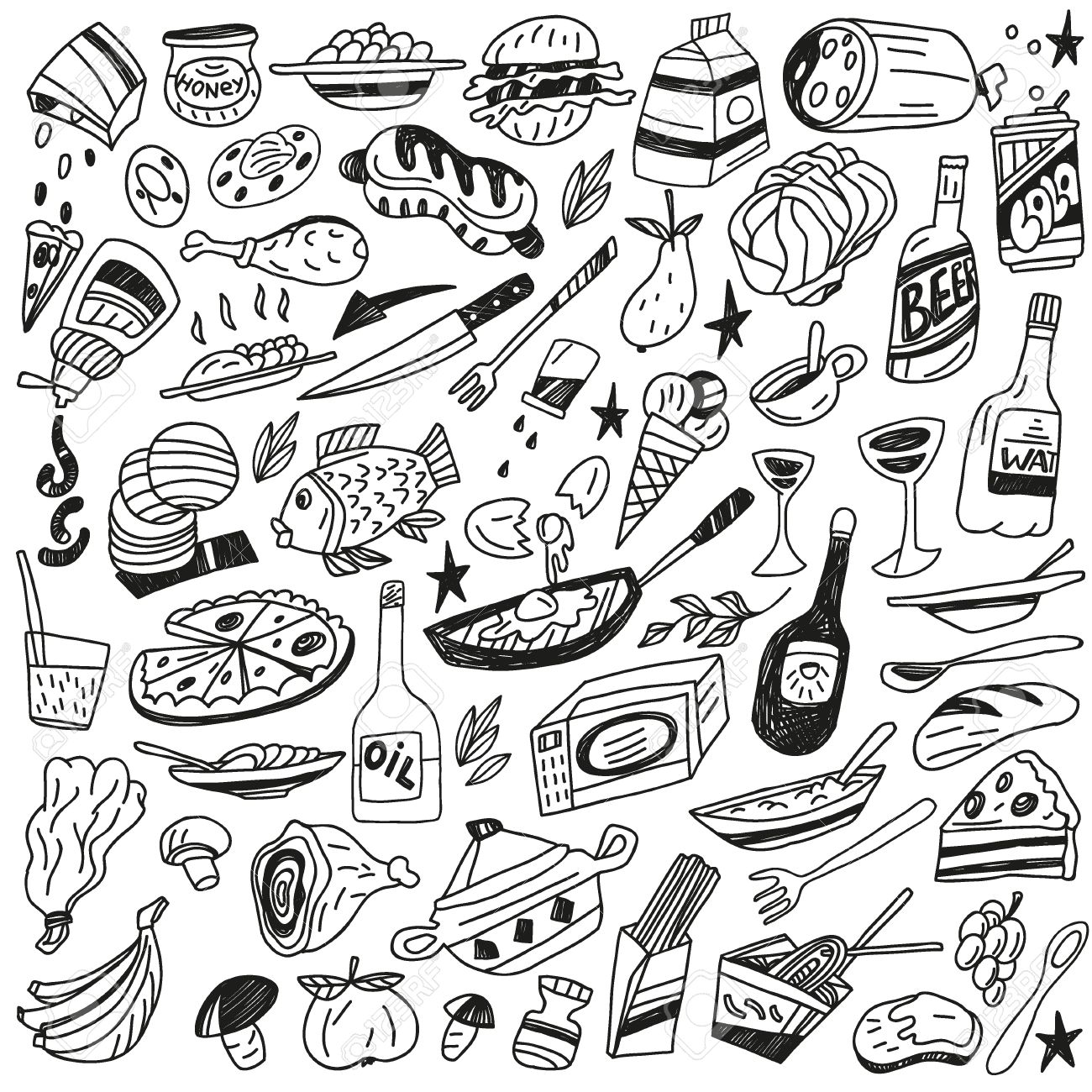 1300x1300 Food Icons In Sketch Style Royalty Free Cliparts, Vectors,