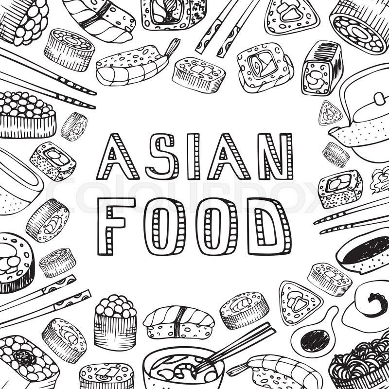 800x800 Asian Food Background. Asian Food Poster. Asian Food Menu