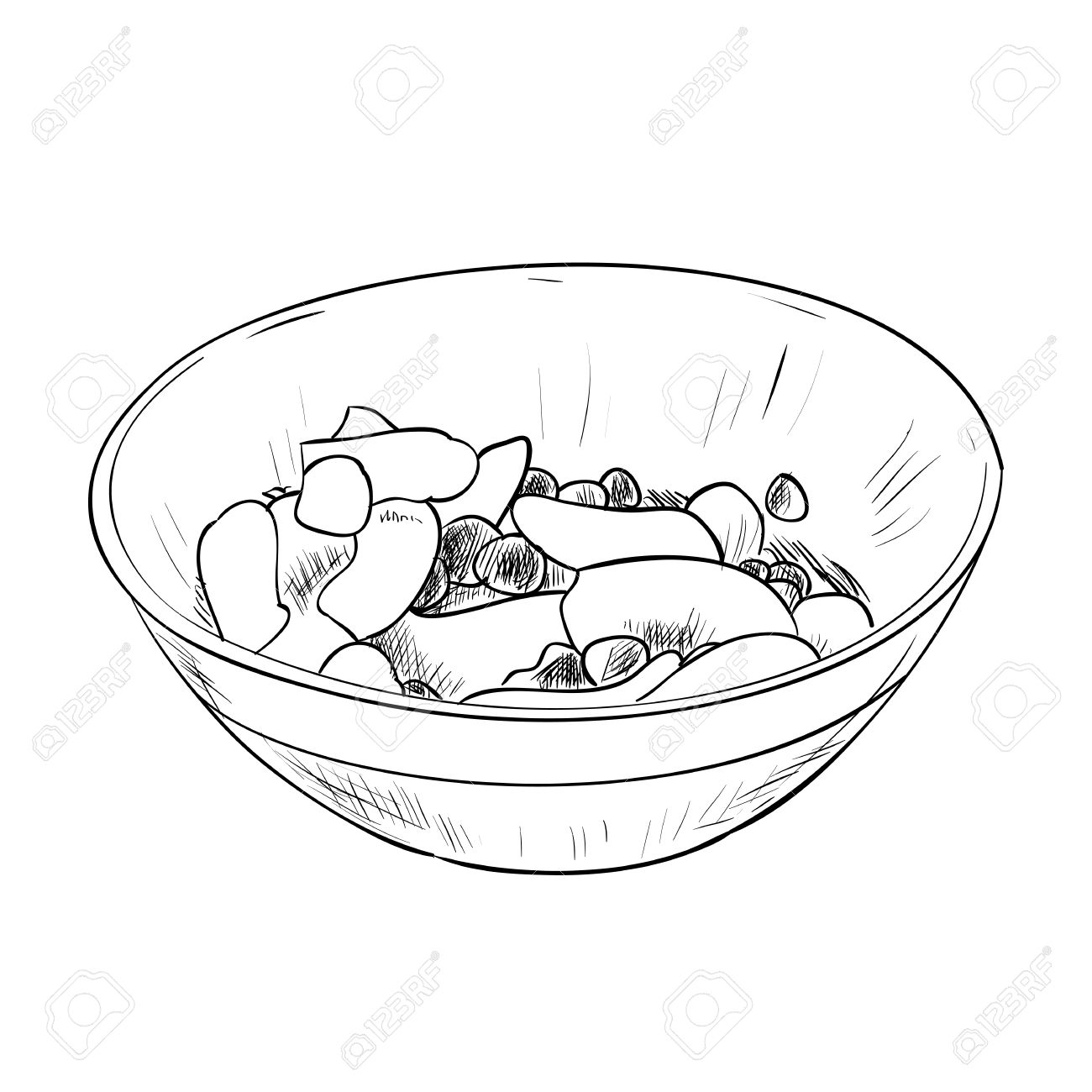 1300x1300 Vector Sketch Of Dish With Food. Hand Draw Illustration. Royalty