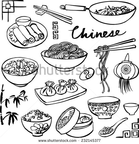 450x465 Chinese Food Icons Vector Doodle Set Craft Ideas