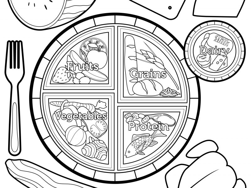 800x600 Download Food Plate Coloring Page