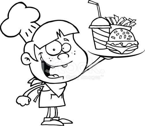 502x439 Black And White Boy Chef Holding Plate Of Fast Food Stock Vector