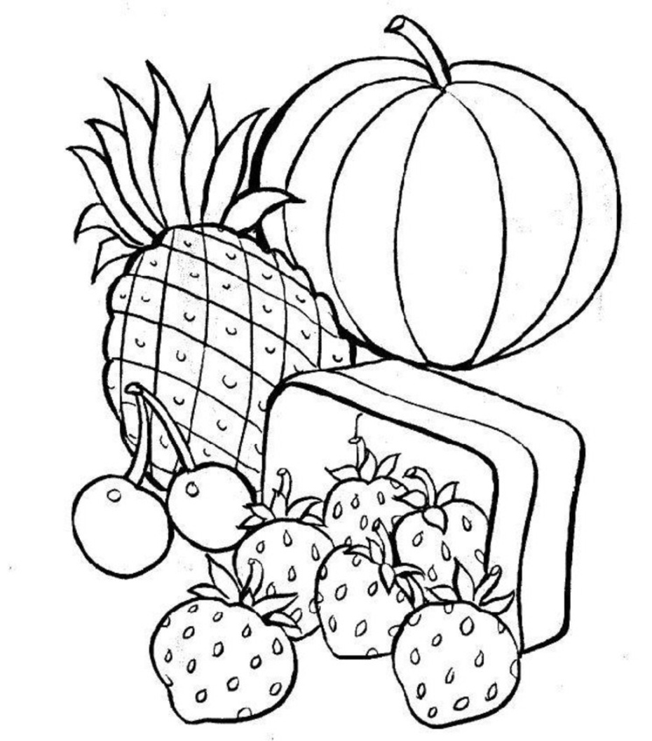 930x1058 Simple Healthy Food Coloring Pages And Print For Page Printable