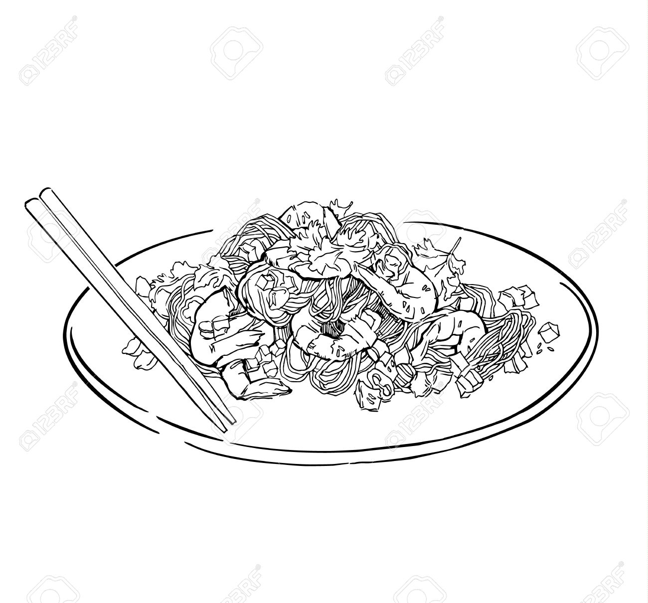 1300x1210 Vector Sketch Of Spaghetti Plate. Italian Food Draw. Isolated