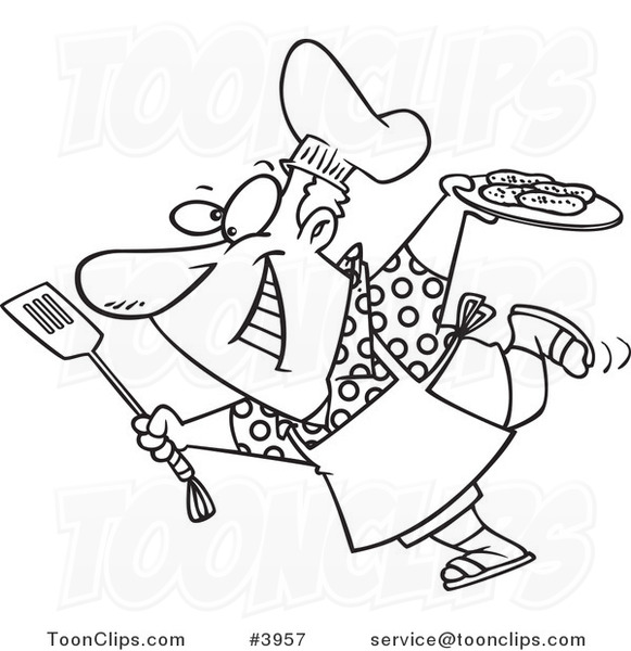 581x600 Cartoon Black And White Line Drawing A Guy Carrying A Plate