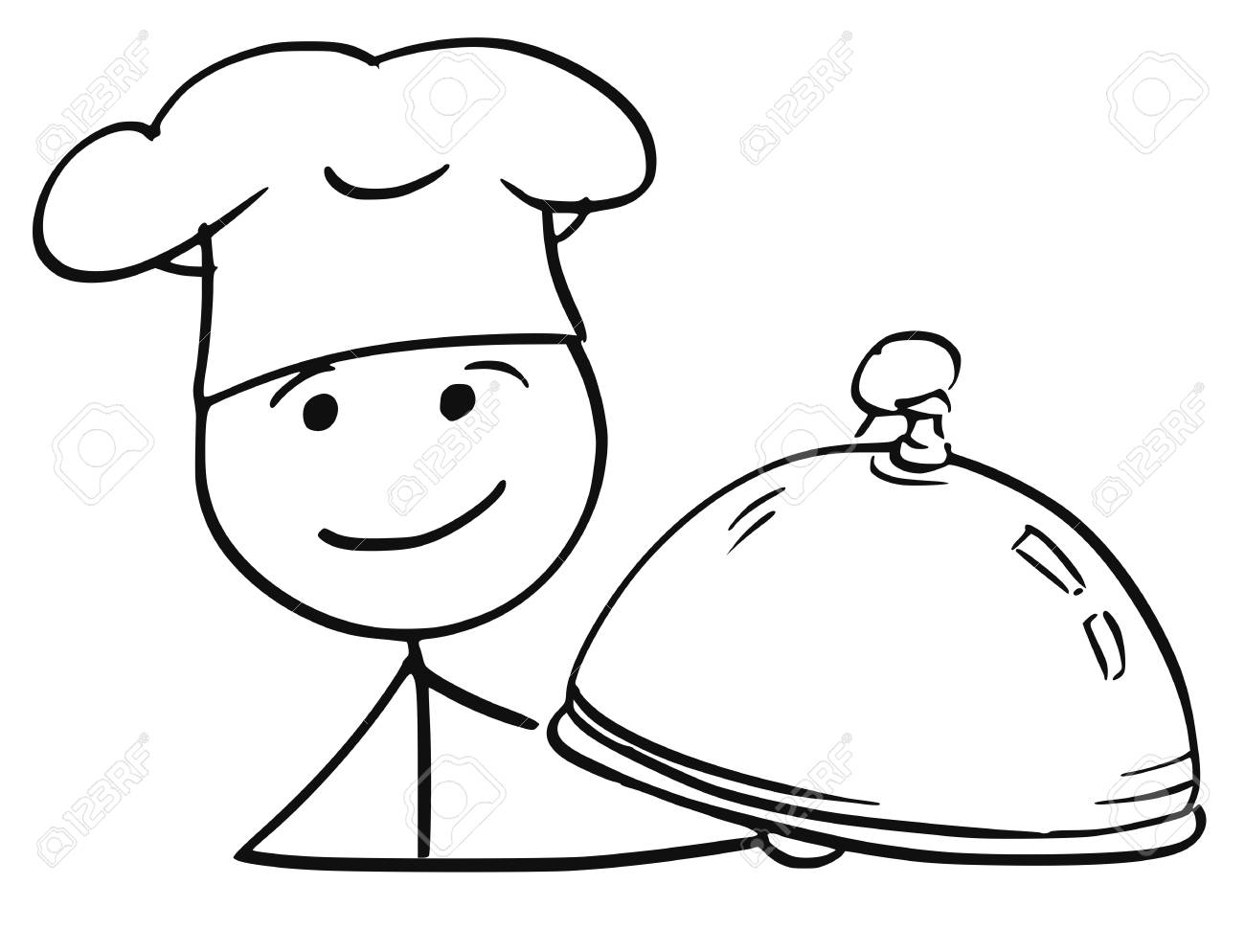 1300x994 Cartoon Vector Stick Man Stickman Drawing Of Male Cook Chef