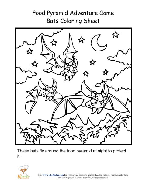 480x621 Food Pyramid Adventure Game Bats Coloring Page