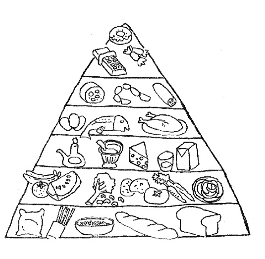 535x523 Food Pyramid With Fish And Other Ingredients Coloring Pages