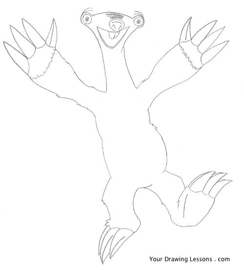 500x554 How To Draw Sid From Ice Age Your Drawing Lessons