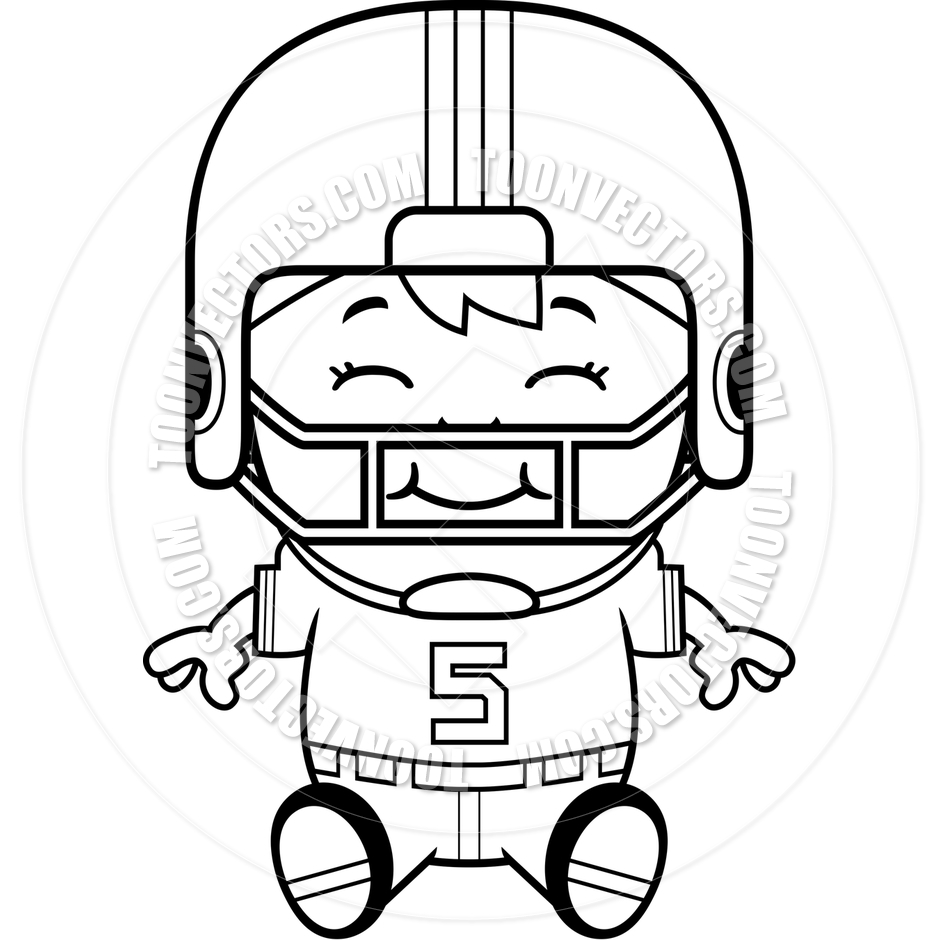 940x940 Cartoon Football Player Boy Sitting (Black And White Line Art) By