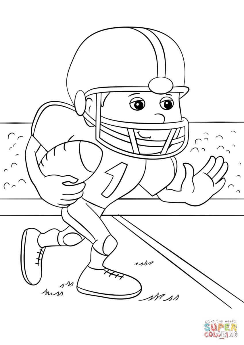 849x1200 Cartoon Football Running Back Coloring Page Free Printable