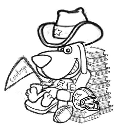 500x562 Cowboys Hound Dallas Football Fan Cartoon Logo