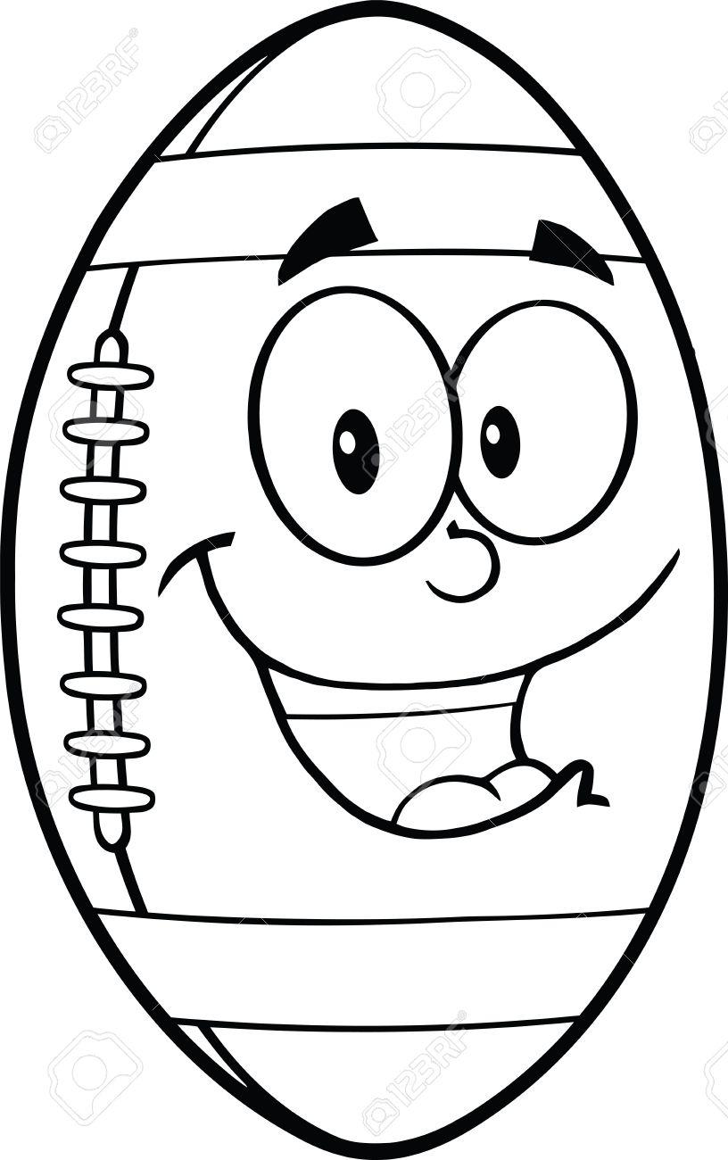 816x1300 Black And White American Football Ball Cartoon Mascot Character