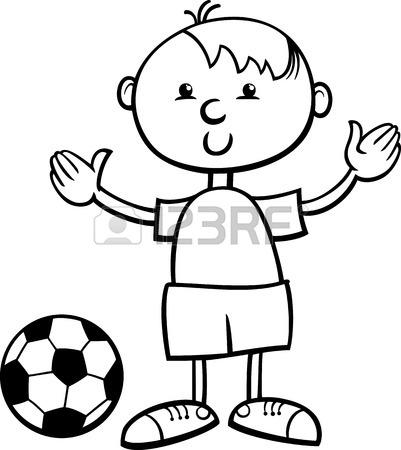 401x450 Black And White Cartoon Illustration Of Cute Little Boy