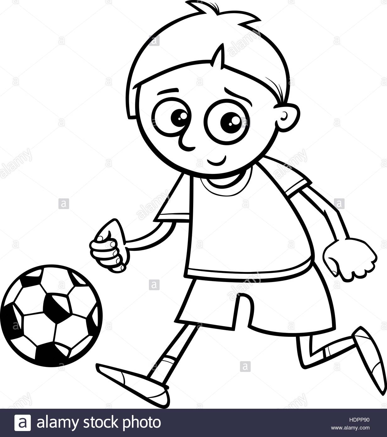 1232x1390 Black And White Cartoon Illustration Of Boy Playing Football