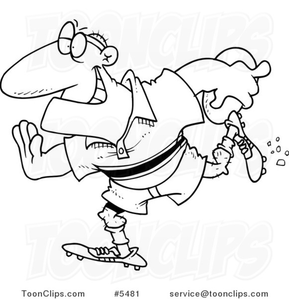 581x600 Cartoon Black And White Line Drawing Of A Rugby Football Player