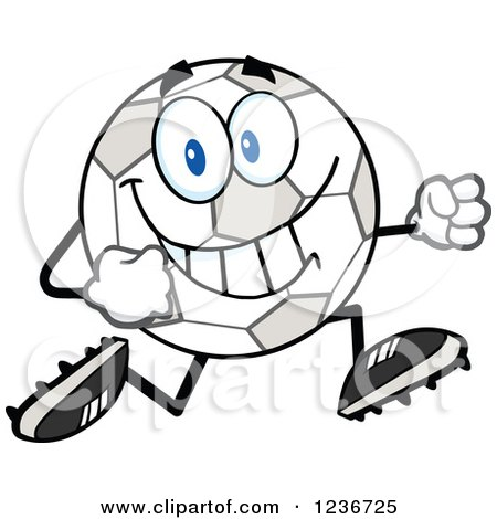 450x470 Clipart Of A Happy Soccer Ball Character Running In Cleats