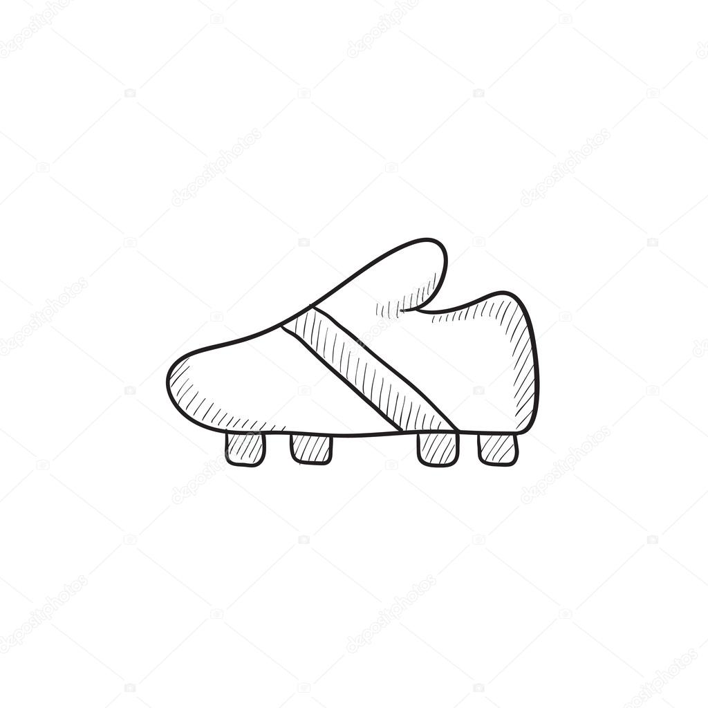 1024x1024 Football Boot Sketch Icon. Stock Vector Rastudio