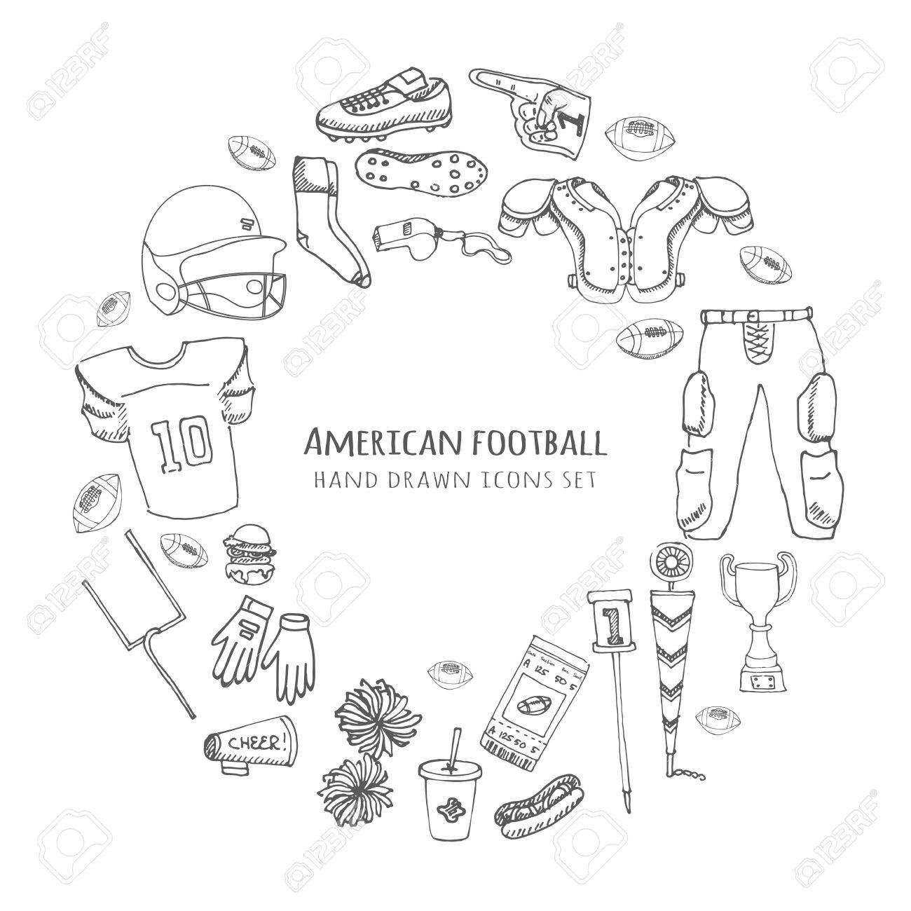 1300x1300 Hand Drawn Doodle American Football Set Vector Illustration