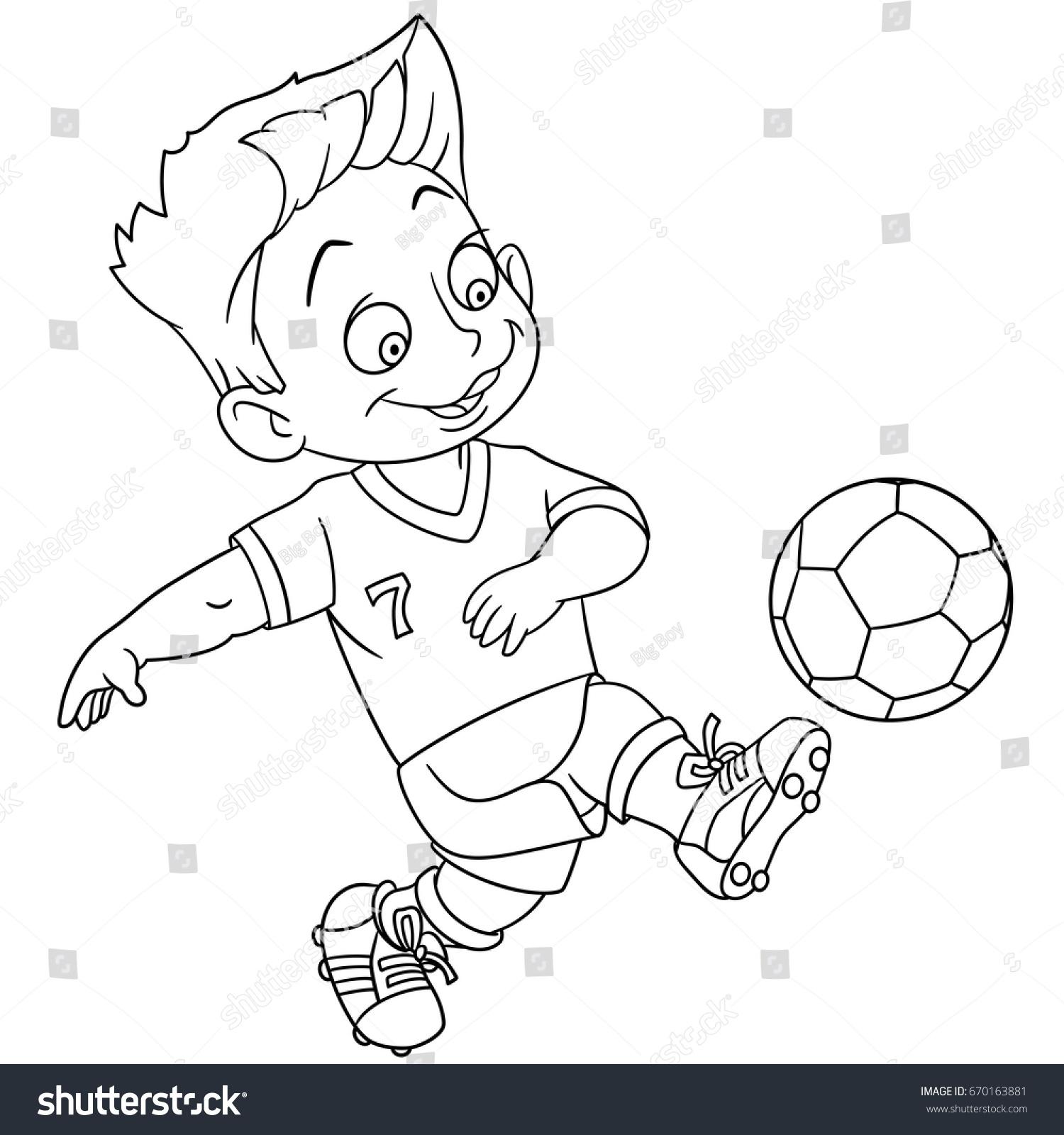 1500x1600 A Boy Playing Football Drawing Coloring Page Cartoon Boy Playing