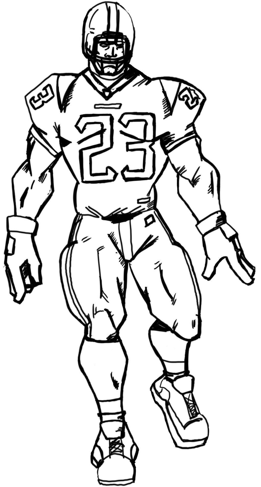 1024x1909 Drawing Of Football Players Football Player Drawing Free
