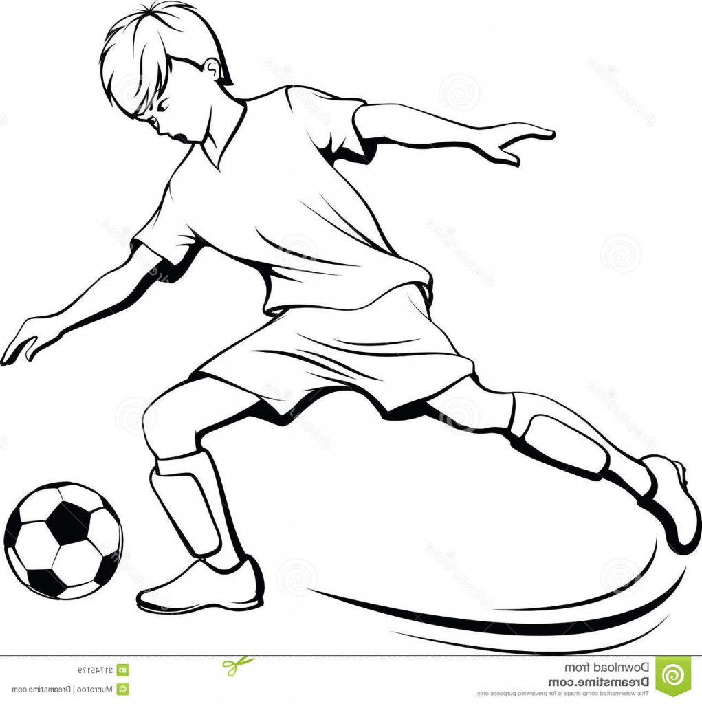 1021x1024 Boy Playing Football Sketch A Drawn Picture Of A Boy Playing